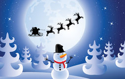 vector santa claus, trees and snowman Stock Images