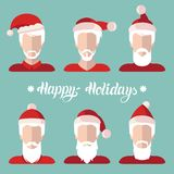 Vector Santa Clauses app icons set in flat style.Xmas illustration with Happy Holidays lettering.New Year greeting card. Vector Santa Clauses app icons set in Royalty Free Stock Image