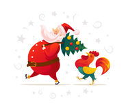 Vector santa and funny rooster characters portrait on white background. Royalty Free Stock Photos