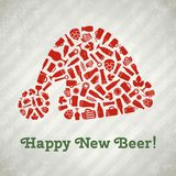 Vector Santa hat christmas beer poster. royalty free stock images