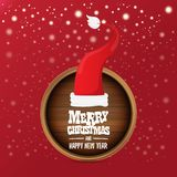 Vector red Santa hat with circle wooden board sign and greeting merry christmas text on red background. vector merry vector illustration