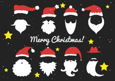 Vector. Santa hats, moustache and beards. Christmas elements Stock Photography