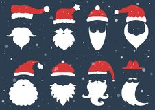 Vector. Santa hats, moustache and beards. Christmas elements for Stock Image