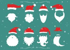 Vector. Santa hats, moustache and beards. Christmas elements for Royalty Free Stock Photo