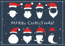 Vector. Santa hats, moustache and beards. Christmas elements for Royalty Free Stock Images