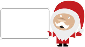 Vector of Santa holding blank white card. Vector image of cartoon Santa Claus holding a blank white card in his hand isolated on white background Stock Photo