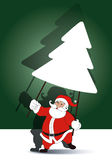 Vector of Santa holding  christmas tree banner Royalty Free Stock Image