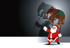 Vector of Santa holding with grand shadow play Stock Photos