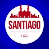 Vector Santiago City Skyline Design stock illustration