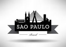 Vector Sao Paulo City Skyline Design stock illustration