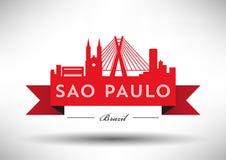 Vector Sao Paulo City Skyline Design royalty free illustration