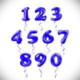 Vector sapphirine blue number 1, 2, 3, 4, 5, 6, 7, 8, 9, 0 metallic balloon. Party decoration golden balloons. Anniversary sign fo Stock Photography