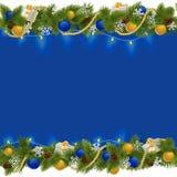 Vector Sapphirine Christmas Border with Garland Royalty Free Stock Image