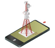 Vector satellite tower in mobile phone, transmission isometric tower. Vector satellite tower in mobile phone, transmission tower. Telephone and television vector illustration