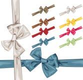 Vector satin bows and ribbons. Vector satin bows with ribbon in 8 colors Royalty Free Stock Photos