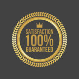 Vector Satisfaction Guaranteed Gold Sign, Round Label.  Stock Illustration