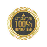 Vector Satisfaction Guaranteed Gold Sign, Round Label.  Vector Illustration