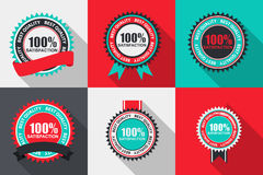 Vector 100% Satisfaction Quality Label Set in Flat Modern Design. With Long Shadow. Vector Illustration EPS10 vector illustration