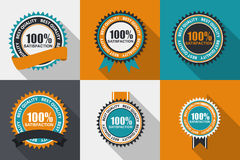 Vector 100% Satisfaction Quality Label Set in Flat Modern Design. With Long Shadow. Vector Illustration EPS10 Royalty Free Illustration