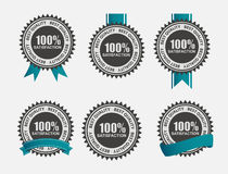 Vector 100% Satisfaction  Retro Label Set with. Blue Ribbon. EPS10 Royalty Free Stock Photo