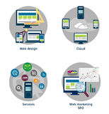 Vector Satz flache Konzept- des Entwurfesikonen für Netz und Mobile Lizenzfreie Stockbilder