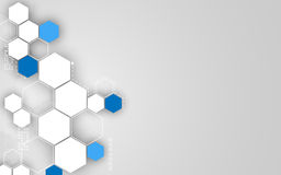 Vector sauberen Designhintergrund des abstrakten Hexagontechnologiekonzeptes Stockbild