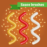 Vector sauce brushes. Stock Images