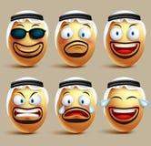 Vector saudi arab man egg faces set wearing agal and ghutrah or head dress Stock Photos