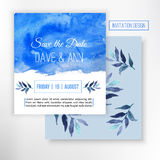 Vector Save the date card with Blue watercolor background and leaves, Sea or sky. Creative design for card, web design background, Stock Photo
