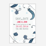 Vector save the date card with floral young peas background. Sketch linear template for invitations, banner, site Stock Images