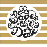 Vector Save the Date card with golden striped background and lettering in round frame Stock Photos