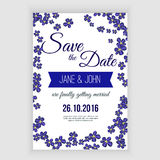 Vector  save the date card  with hand drawn blue daisy flowers in rustic style Royalty Free Stock Image
