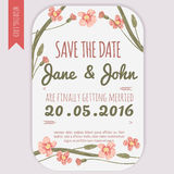Vector  save the date card  with hand drawn vintage daisy flowers in rustic style Royalty Free Stock Images