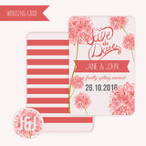 Vector  save the date card  with hand drawn vintage  flower in rustic style and lettering. Stock Photo