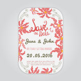 Vector  save the date card  with hand drawn vintage  flower in rustic style and lettering. Stock Photos