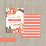 Vector  save the date card  with hand drawn Royalty Free Stock Photo