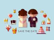 Vector save the date set. Flat design Stock Photography