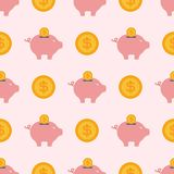 Vector save money piggy bank flat design banking economy save coin finance moneybox seamless pattern background. Illustration Stock Photo