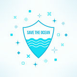 Vector save the ocean background with shield  Stock Photos
