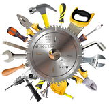 Vector Saw Blade with Tools Royalty Free Stock Photography