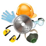 Vector Saw Protective Equipment Stock Images