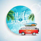 Vector Say Hello to Summer Holiday typographic illustration on tropicat plants floral background. Blue sky and travel van. Royalty Free Stock Images