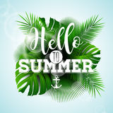 Vector Say Hello to Summer typographic illustration with tropical plants on light blue background. Royalty Free Stock Images