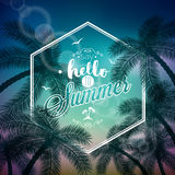 Vector Say Hello To Summer typographic illustration with tropical plants and sunlight on a palm background. Royalty Free Stock Photos