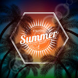 Vector Say Hello To Summer typographic illustration with tropical plants and sunlight on a palm background. Royalty Free Stock Images