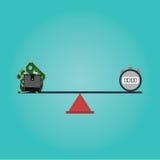 Vector of Scales balance concept money Royalty Free Stock Photos