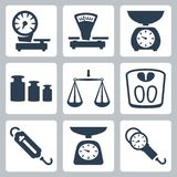 Vector scales, balance icons set Royalty Free Stock Photos