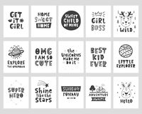 Vector scandinavian style posters set with hand drawn lettering phrases stock illustration