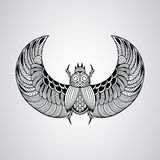 Vector scarab beetle, tattoo style Royalty Free Stock Photos