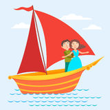 Vector Scarlet Sails illustration. Vector illustration with ship and couple in love Stock Photography